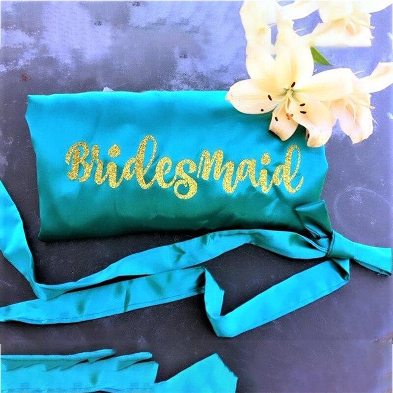 New Peacock Blue Bathrobe Bride Robe Women Bridal Party Sister Team Mother Shower Gift Bridesmaid Hen Glitter Golden Robes