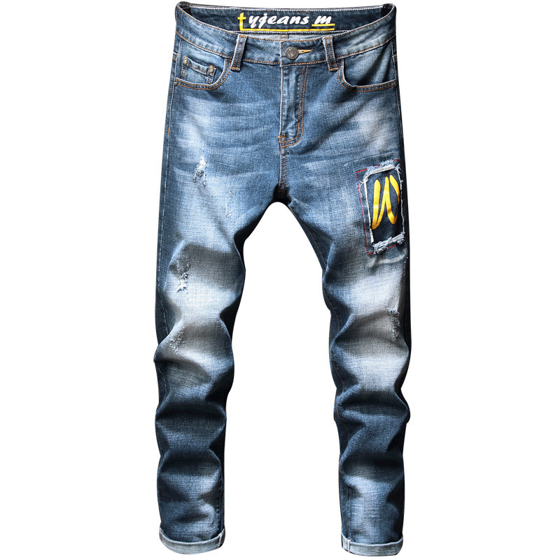 MORUANCLE Men's Ripped Stretch Jeans Pants With Patchwork Fashion Distressed Torn Denim Trousers With Holes Washed Blue Straight