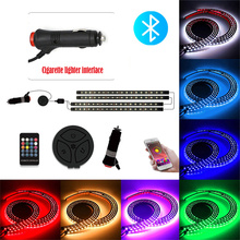 4Pcs Car Led Strips Lights Bluetooth Music Control Car RGB atmosphere light car smart APP car bluetooth car atmosphere light