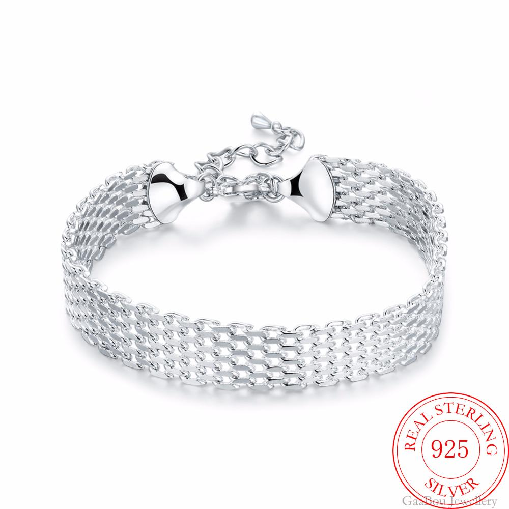 Bangle Bracelets Jewelry Chain Cuff Watchband Silber 925-Sterling-Silver Pulseiras Lucky