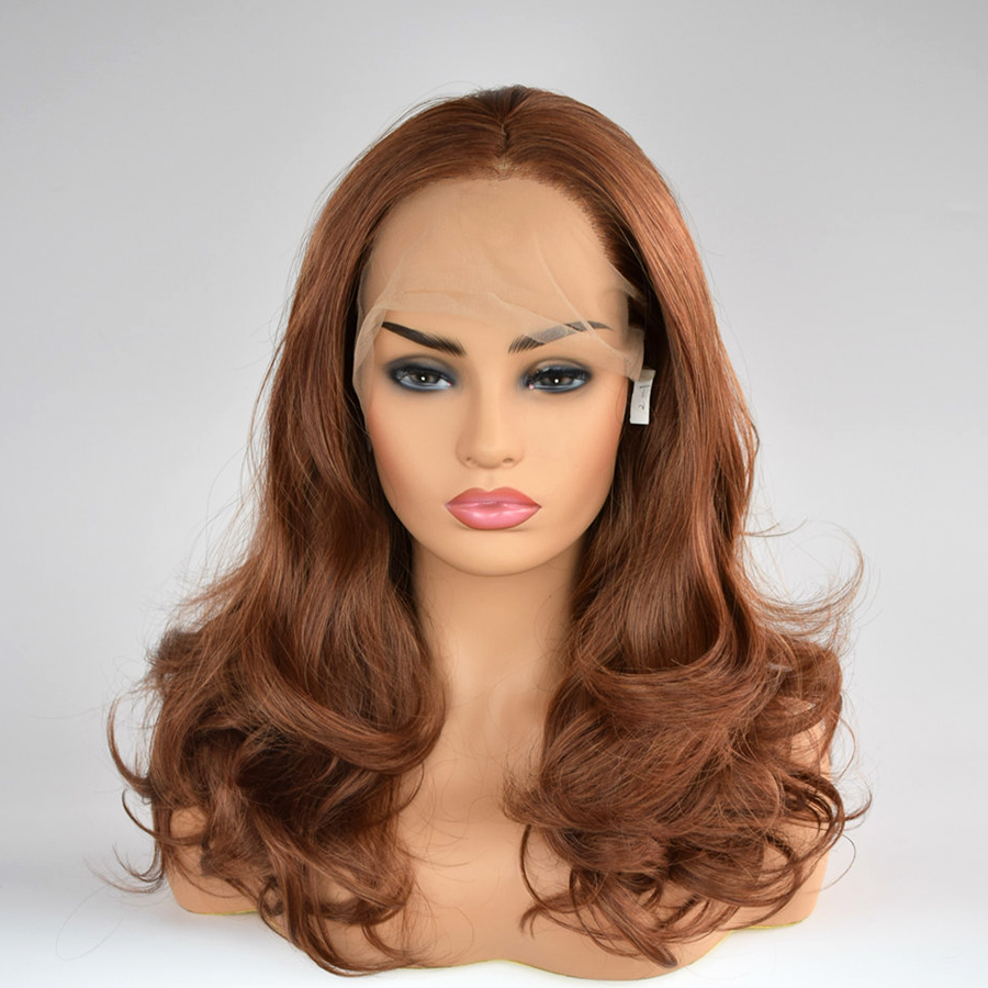 Soft Hair Brown Natural Wavy 16 inches Heat Resistant Synthetic Lace Front Wigs for Women Daily Wear With Natural Hairline
