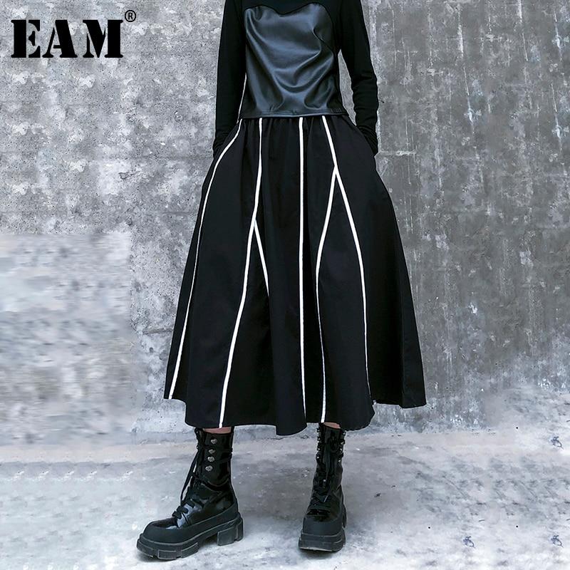 [EAM] High Elastic Waist Black Striped Split Joint Temperament Half-body Skirt Women Fashion Tide New Spring Autumn 2020 1N799
