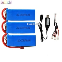 YUKALA-batería Lipo de 7,4 V y 3000mAh con cargador para Wltoys 144001 124018 124019 R/C, 7,4 V 2S, alta capacidad
