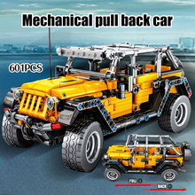 YT0033  601pcs Creator Mechanical Pull Back Jeeped Off-road Vehicle Building Blocks For City Technic Car Bricks Toys For Boys недорого