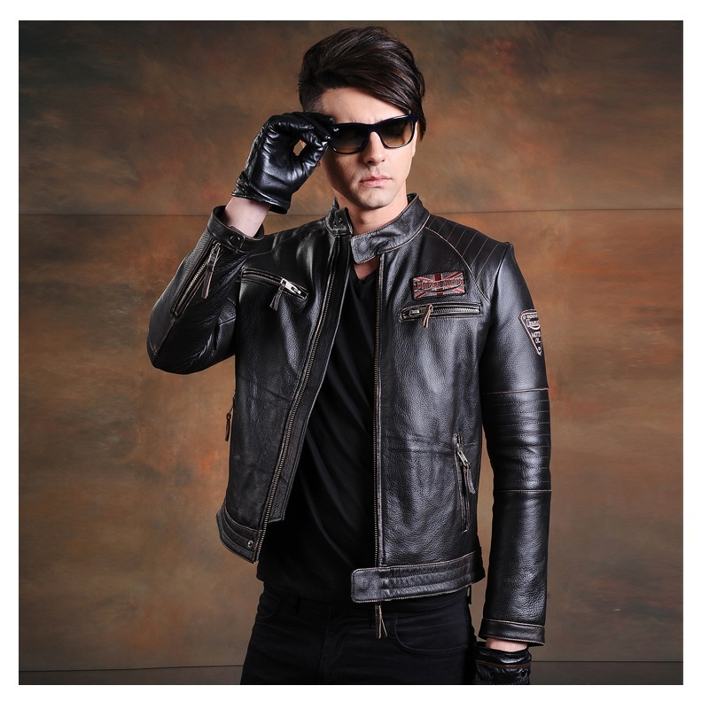 Free shipping.Classic style mens cowhide coat,motor biker leather Jackets,man black genuine Leather jacket.homme slim,cool,sales