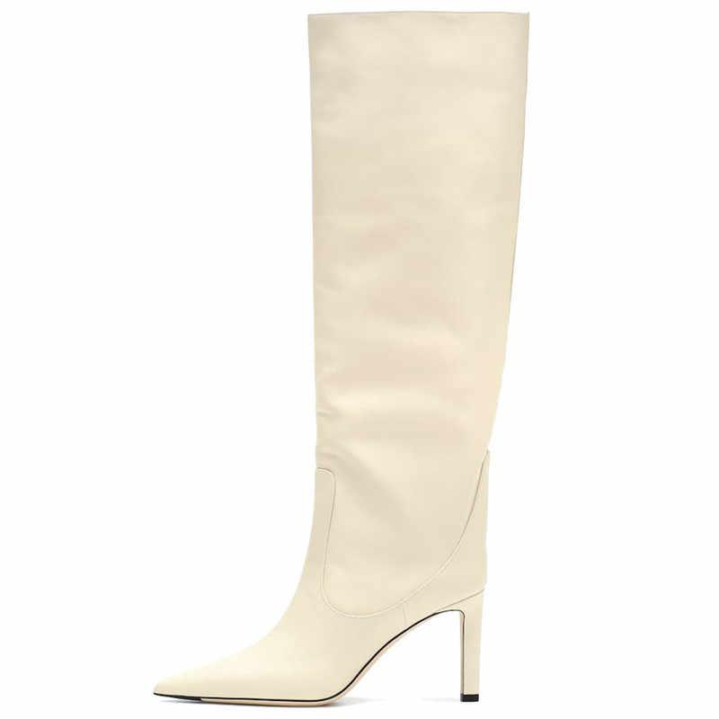 MORAZORA büyük boy 34-45 yeni marka bayan botları sivri burun stiletto yüksek topuklu çizmeler seksi diz yüksek çizmeler kadın gece kulübü ayakkabı