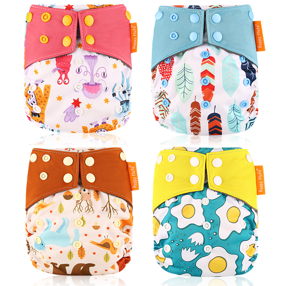 Happy Flute Cloth Diaper Bamboo Charcoal Night AIO Sleepy Baby Cloth 1 Pcs Freeshipping