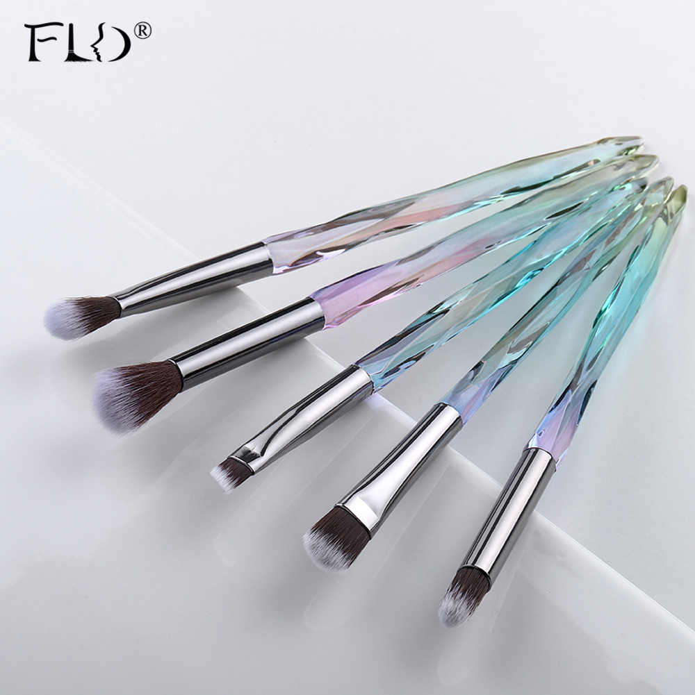 FLD 5Pcs Eye Brush Mini Diamond Makeup Brush Set Eye Shadow Lip Eyebrow Brushes High Quality Professional Lip Eyeliner Tools