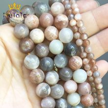 Perles rondes en pierre véritable naturelle, mélange de pierres de lune et de soleil, pour la fabrication de bracelets, accessoires 15 ''4/6/8/10mm