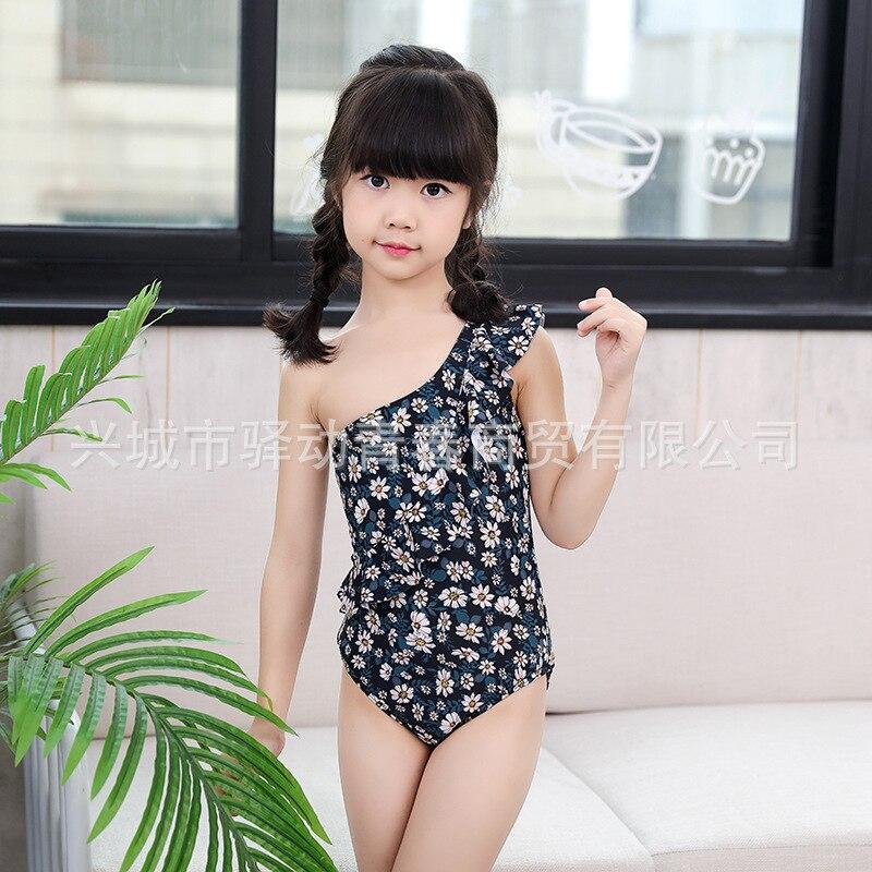 KID'S Swimwear Baby Girls Children One-piece Triangular Bathing Suit Cute Shoulder GIRL'S Swimsuit