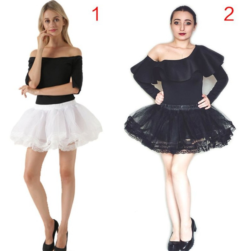 Women Girls 4 Layers Ruffles Ballet Dance Mini Tutu Skirt Scalloped Lace Trim Cosplay Mid Rise Petticoat Crinoline Underskirt