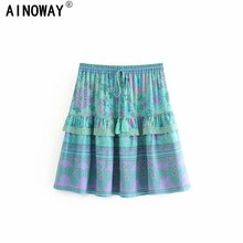 Vintage chic fashion Hippie women geen floral  printed beach Bohemian skirt ladies ruffles rayon cotton mini boho skirts