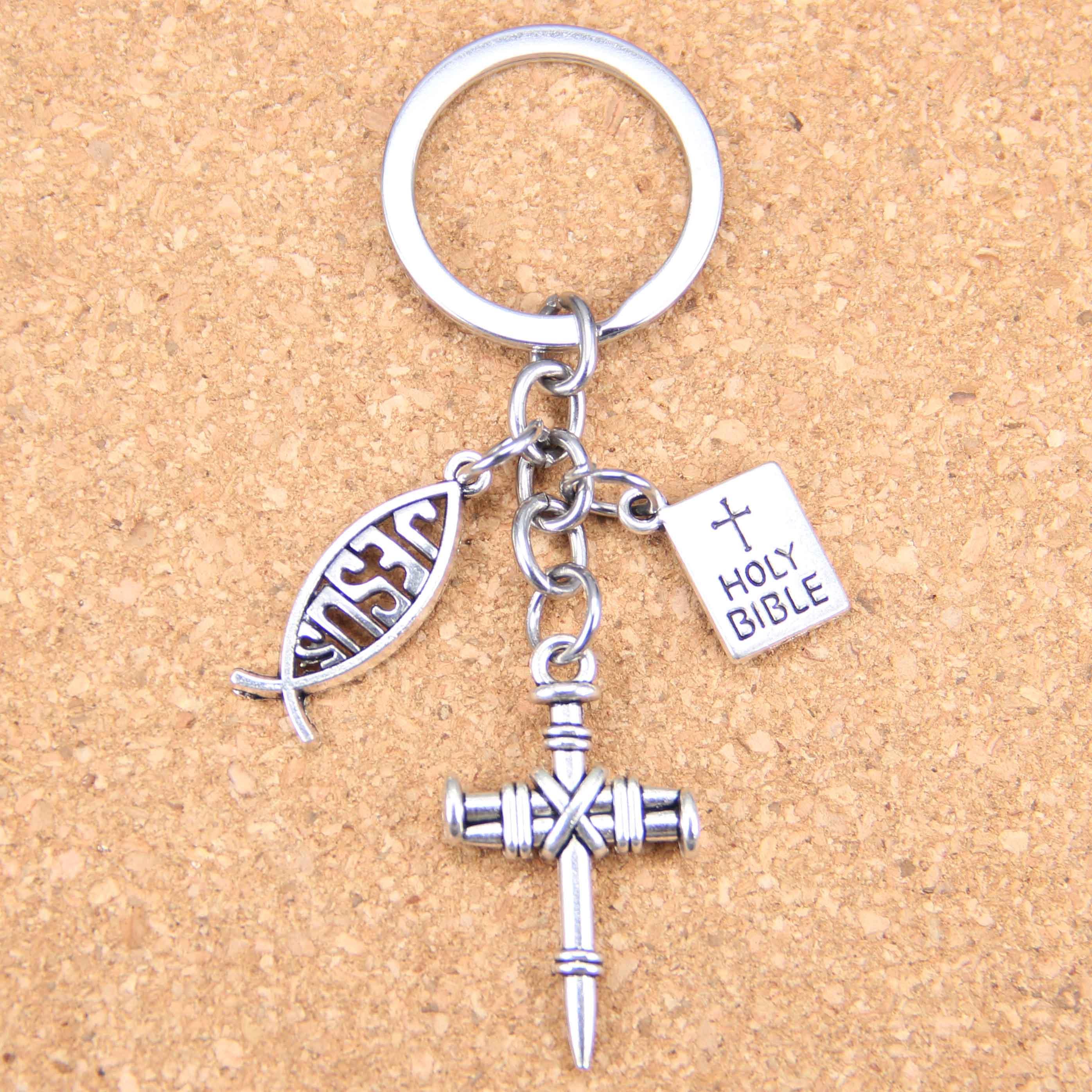 Bright New Fashion Diy Keychain Jesus Cross Book Holy Bible Pendants Men Jewelry Car Key Chain Souvenir For Gift