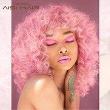AISI HAIR-perruque synthétique longue, Afro bouclée et crépue, rose noir avec frange, en Fiber résistante à la chaleur pour femmes, 14 pouces