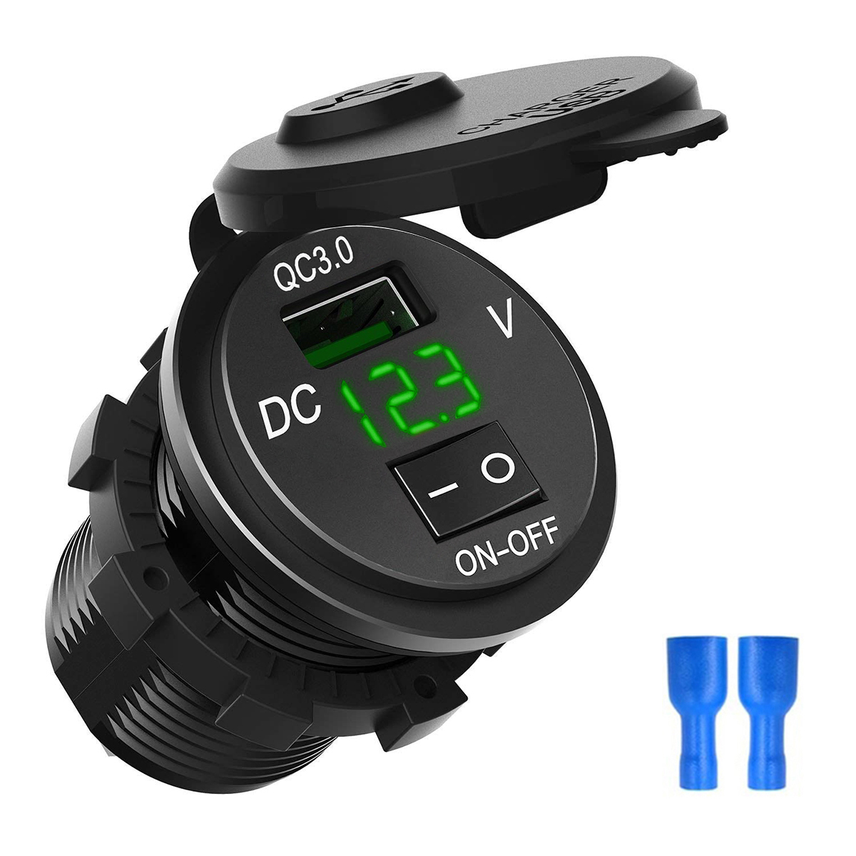 QC 3.0 USB Car Charger Socket Digital Display Voltmeter USB Charger Socket With ON-OFF Switch For Car RV ATV Motorbike Boat