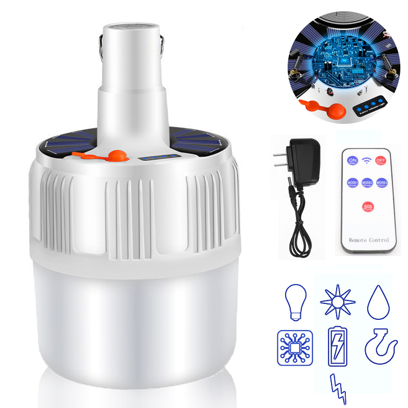 60/80/100W Camping lumière Rechargeable ampoule LED Charge solaire Portable batterie de secours lampe à LED maison marché de nuit en plein air