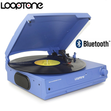 LoopTone Belt Drive 33/45/78 RPM Bluetooth Vinyl LP Record Player Turntable Disc  Built in Speakers Headphone Jack&RCA Line out