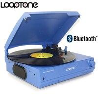 Looptone belt drive 33/45/78 rpm bluetooth 비닐 lp 레코드 플레이어 턴테이블 디스크 내장 스피커 헤드폰 잭 및 rca 라인 아웃