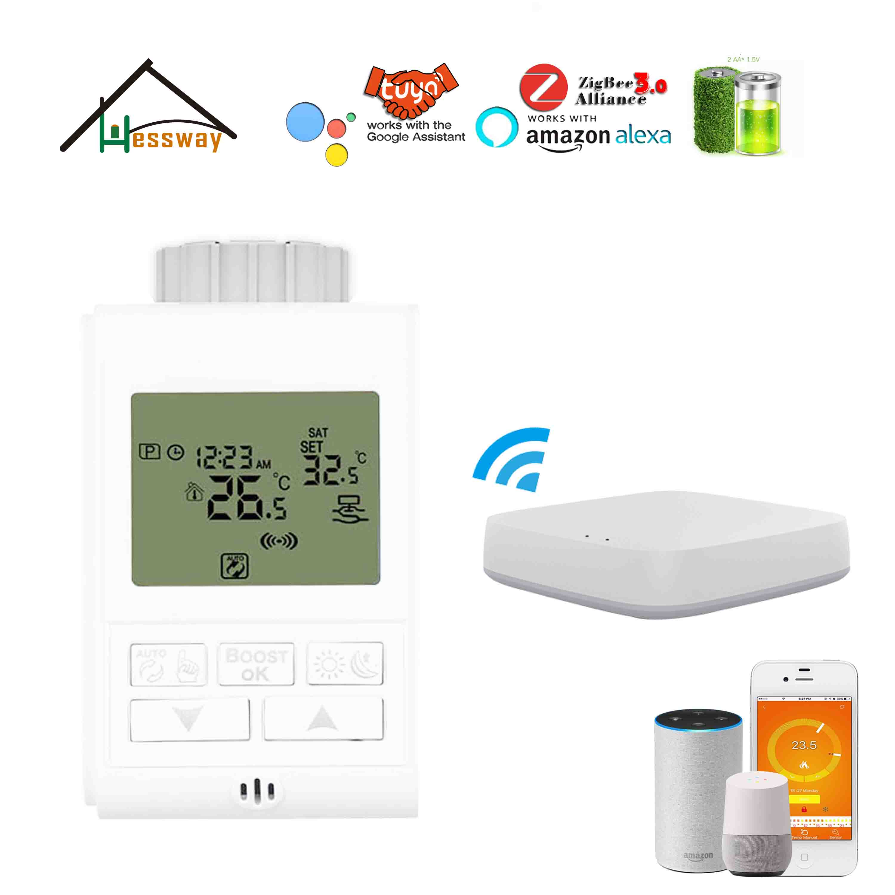 WIFI APP Controller Gateway Zigbee3.0 Radiator Thermostat For Route 4.5mm Check Valve Opening