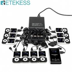 Retekess T130 Wireless Tour Guide System 1 Charging Base +1 Transmitter+10 Receivers +Mic for Church Translation System Factory