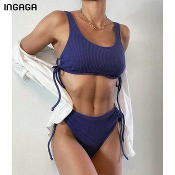 INGAGA Ribbed Bikinis Women's Swimsuits High Waist Swimwear Push Up Biquini String Bow Bathing Suits 2021 New Black Beachwear 5