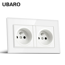 UBARO – Prise de courant murale Usb 5V 146 ma, AC100-250V x 86, Standard français, en verre trempé blanc, 16A