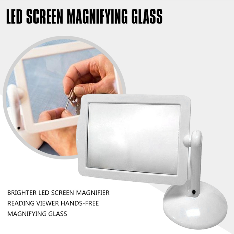 ELEG-Brighter LED Screen Magnifier Reading Viewer Hands-Free Magnifying Glass Brighter Reading Tools