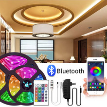 Bluetooth Светодиодная лента светильник 5050 Смарт Luces LED RGB DC12V 5 м Водонепроницаемый светодиодные лампы для дома светильник s для домашней кухни, г...