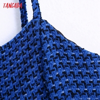 Tangada Women Spaghetti Strap Blue Texture Tweed Slim Mini Dress Female Chic Back Zipper Hem Split Party Dress BE63 3