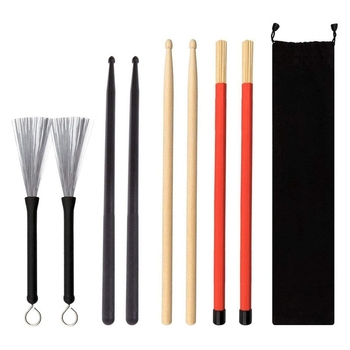drum Drum Sticks Drum Brushe Set 1 Pair 5A Drum Sticks, 1 Pair Brushes Sticks, 1 Pair Nylon Drum Sticks,1 Pair Drum Brushes