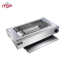 цена на ITOP 2500W Electric BBQ Grills Stainless Steel Smokeless Barbecue Grills Machine Single/Doudle Temperature Control