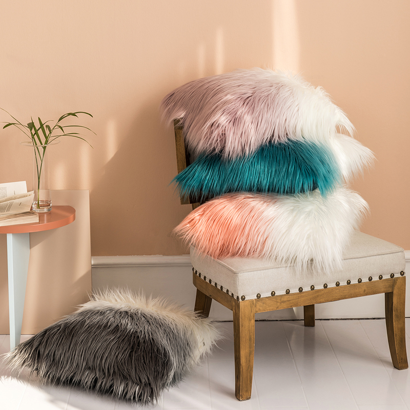Luxury Pillow Case 50x50cm Cushion Cover Faux Fur Pink Grey Blue Orange For Sofa Bedroom Car Soft Home Decorative 50x50inch