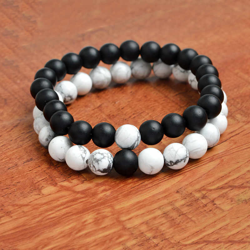 8mm Charm Couple Bracelet Beads Bracelets Black White Natural Lava Stones Beads Bangles For Men Women Jewelry Pulseras Yoga