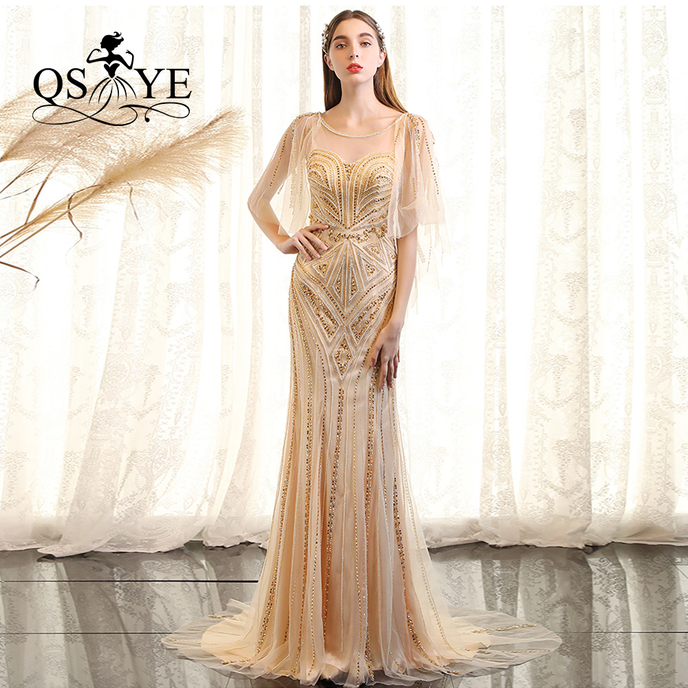 QSYYE 2019 pretty Long   Prom     Dresses   o-neck trumpet court train half sleeves floor-Length court train Evening   Dress   Party Gown