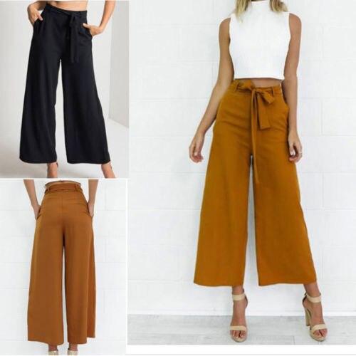 Culottes De Moda Para Mujer Pantalones Palazzo Pantalones Sueltos De Cintura Alta Pantalones Largos De Pierna Ancha Y Solidos Verano Otono Pantalones Y Pantalones Capri Aliexpress