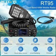Retevis rt95 carro estação de rádio bidirecional 200ch 25w alta potência vhf uhf rádio móvel rádio do carro chirp ham rádio móvel transceptor