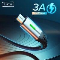 Cavo dati Micro USB INIU 2m 3A LED ricarica rapida Microusb Micro USB caricabatterie per telefono Android cavo dati per Samsung Xiaomi Redmi Huawei