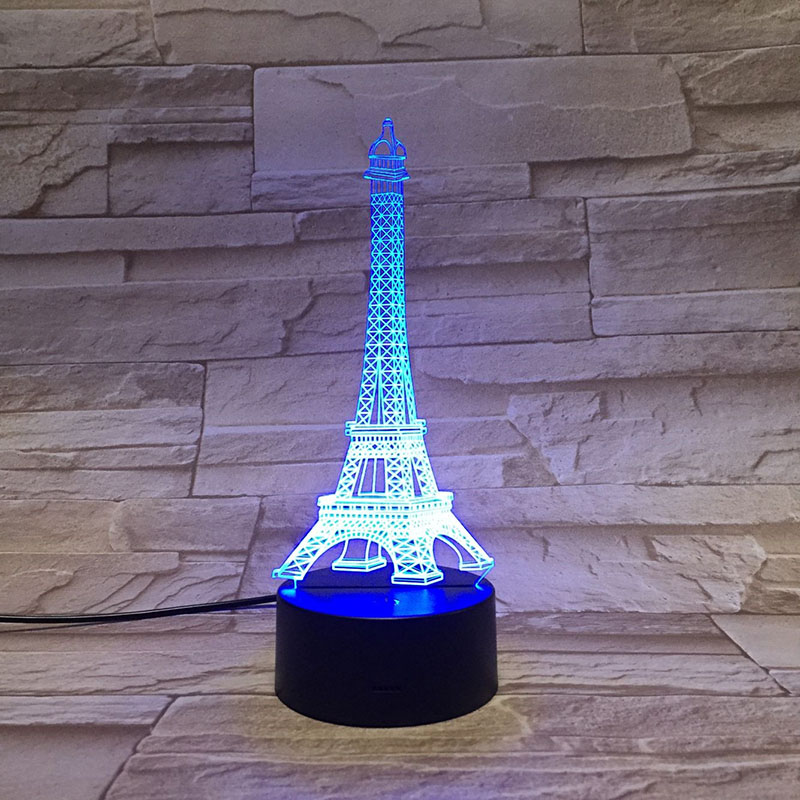 Romantic Paris Eiffel Tower 3D LED USB Decorative Lighting Cable Party Atmosphere Night Light Multicolor Table Lamp Lovely Gifts