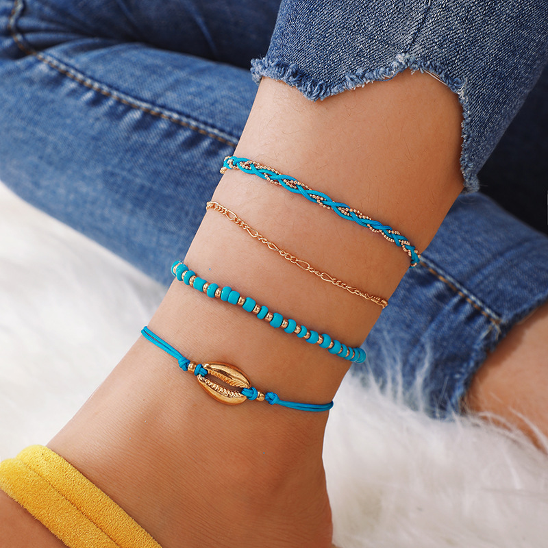 4Pcs Bohemian Beaded Ankle Bracelets Set Multilayer Sea Shell Charm Knitted Blue Theme Bracelets Women Anklet Foot Jewelry Gift