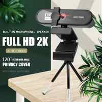 Webcam Full HD 4K para PC, ordenador, portátil, grabación de vídeo, lente de cámara Web de enfoque automático con micrófono, cubierta de privacidad