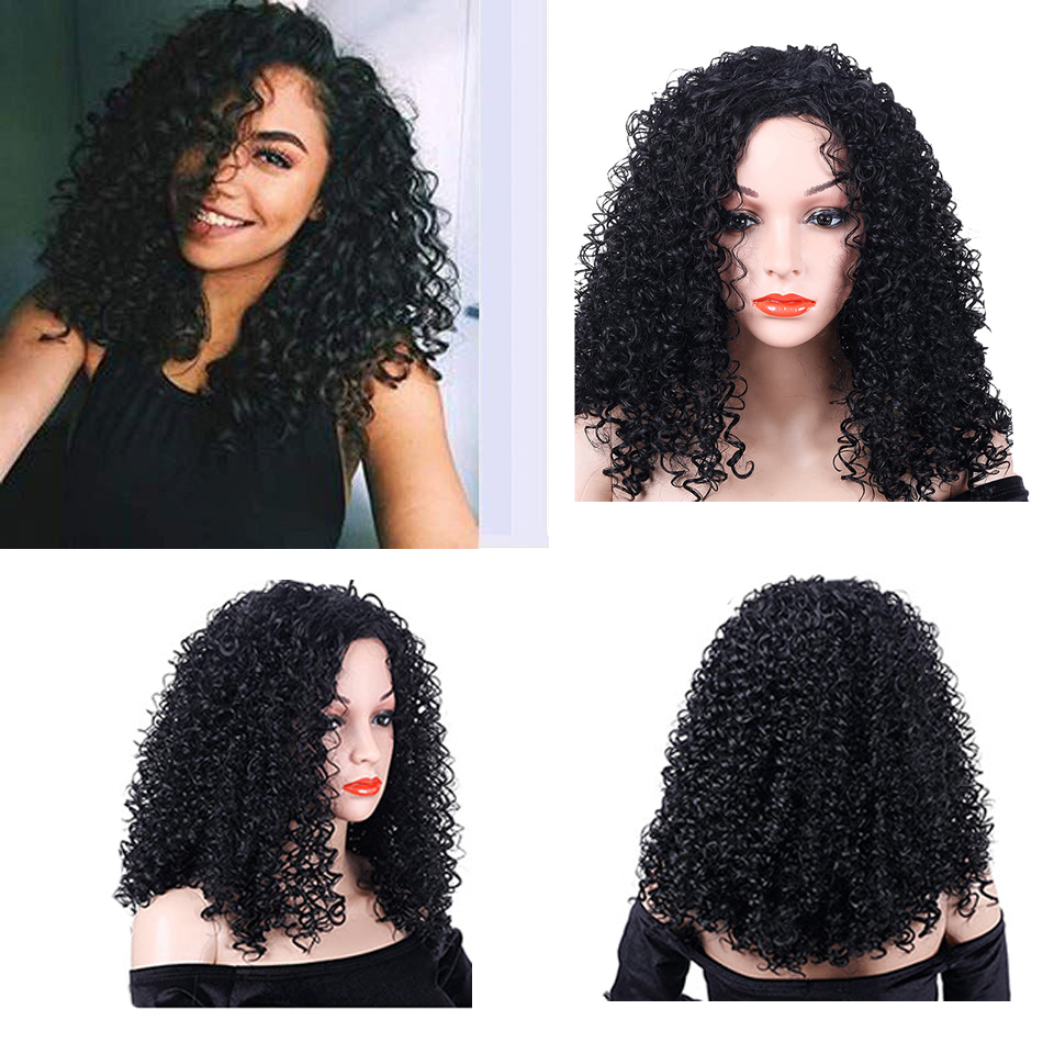PULU Manufacture Cheap Afro Mongolian silky Black Women neat Deep Curly Fake Synthetic Wigs