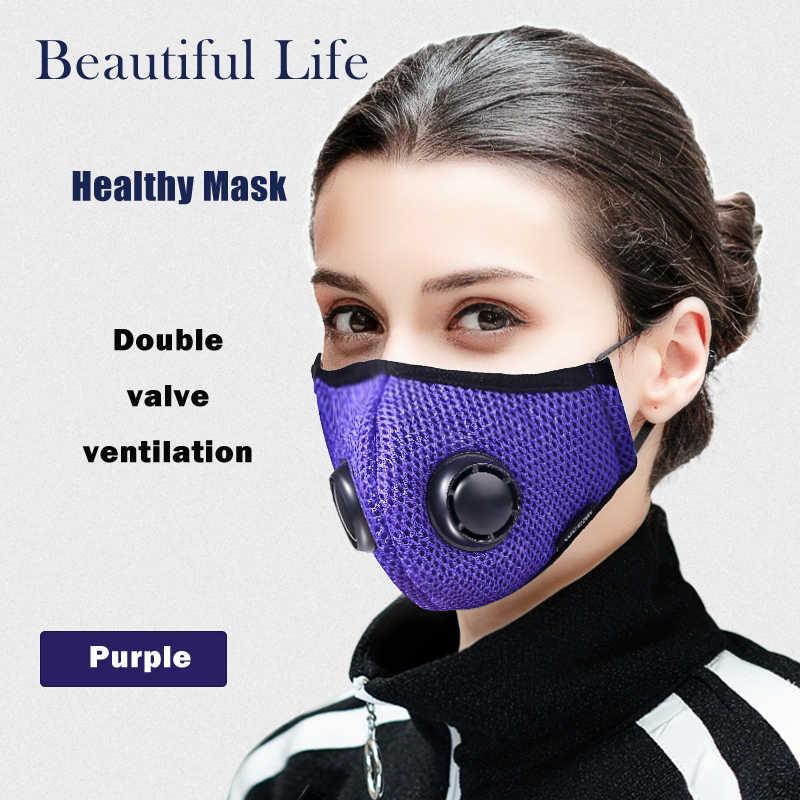 Anti poluição máscara de ar filtro de carvão ativado boca máscara facial dupla respirador anti névoa anti alergia gripe pm2.5 poeira máscara