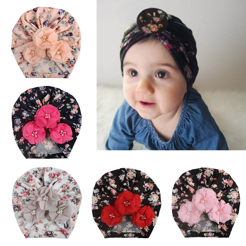 Soft Newborn Girls Infant Hat Headband Toddler Pearl Floral Printed Hats Hair Accessories Protective Hat For Children