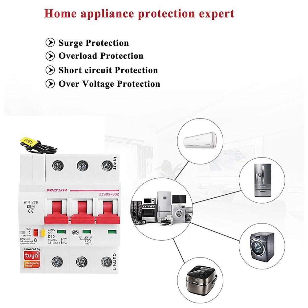 Smart Life(tuya) 3P WiFi Smart Circuit Breaker overload short circuit protection with  Amazon Alexa google home for Smart Home 3