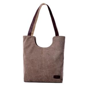 Image 3 - Sac à main en toile de couleur unie, sac à main marque de luxe, sacs à main de bonne qualité, sacs de Shopping en coton grande capacité automne et hiver