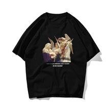 2021 New Fashion Ins Style Retro Oil Paiting Print T Shirts Men Qulity 100% Cotton Top Tee Skateboard White Pink Green T-shirt