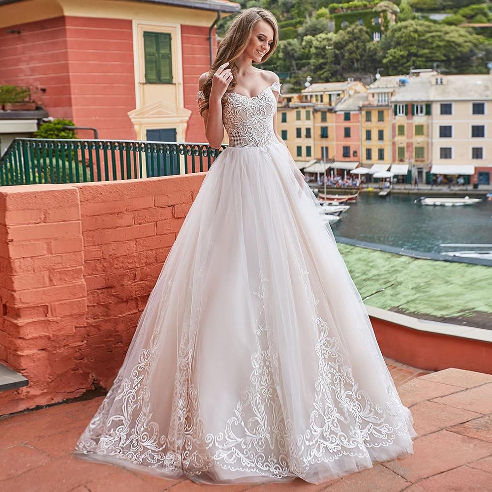 Elegant Lace Tulle Wedding Dresses Boho Sweetheart Off-the-shoulder White Ivory Wedding Gowns Vestido de Novia with Applique