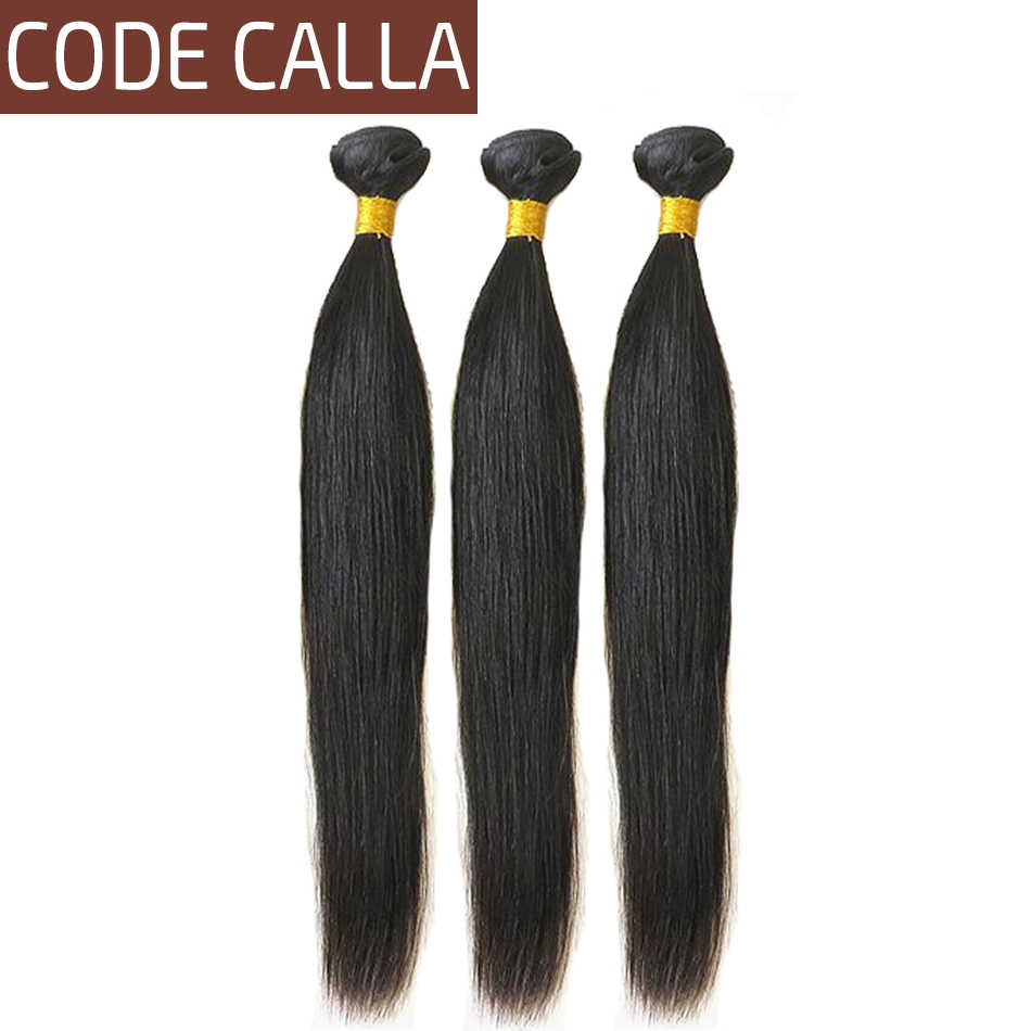 Code Calla Straight Hair Bundles Peruvian Unprocessed Raw Virgin Human Hair Extensions Weaving Natural Black Color For Women