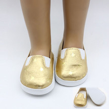 1 pair Glitter Doll Shoes for 43cm Height Dolls Five-pointed Star Shoe Fit 18 Inch American Accessories Girl