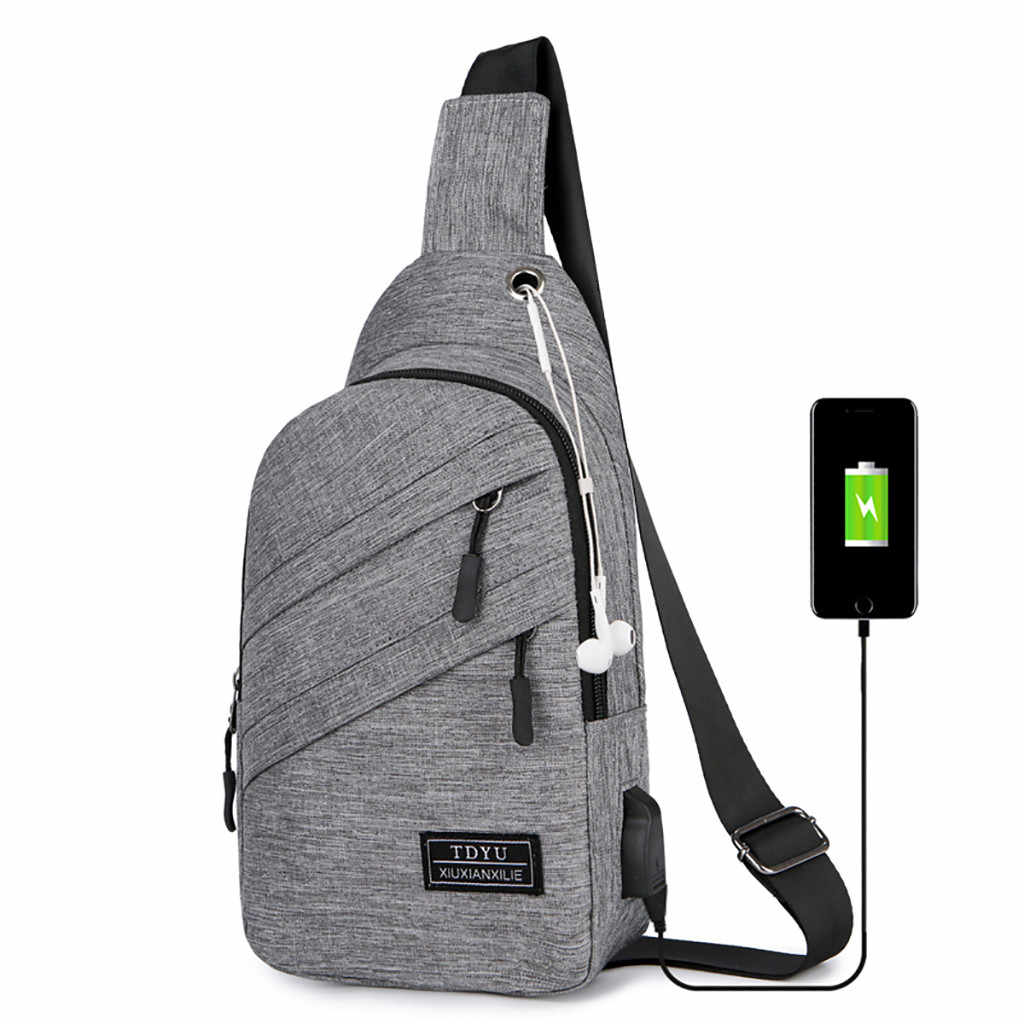 USB Charging Shoulder Bag for men Outdoor men's chest Bags casual waterproof diagonal bag Male Messenger Bags 2020 Hot Sale#L5